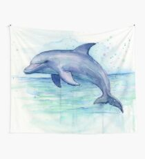 Dolphin Watercolor Wall Tapestry