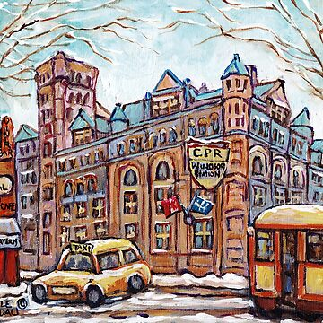 LA GARE WINDSOR CPR OFFICES DOWNTOWN MONTREAL PAINTINGS CANADIAN LANDMARK by CaroleSpandau