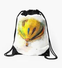 Digitally enhanced image of a floating hot air balloon  Drawstring Bag