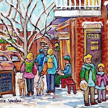 DOG WALKING RUE BEAUBIEN ROSEMONT LA PETITE PATRIE MONTREAL ART WINTER SCENE PAINTING by CaroleSpandau