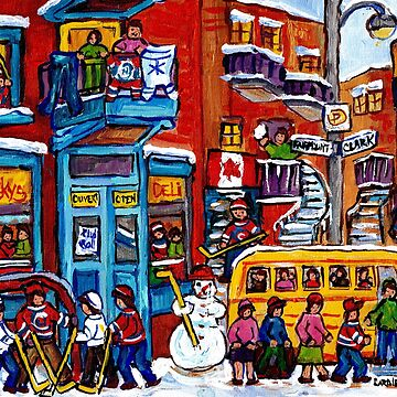 WINTER WONDERLAND KIDS HOCKEY FUN MONTREAL ART BIG YELLOW SCHOOL BUS CANADIAN FLAG by CaroleSpandau