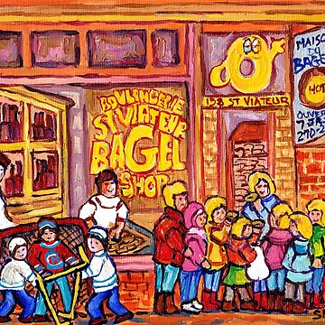 MONTREAL  ART KIDS AND HOCKEY FUN PAINTINGS CANADIAN NEIGHBORHOOD ART C SPANDAU QUEBEC STREET SCENE ARTIST by CaroleSpandau