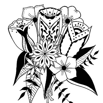 Black and white tattoo style bouquet  by Clare-Wright