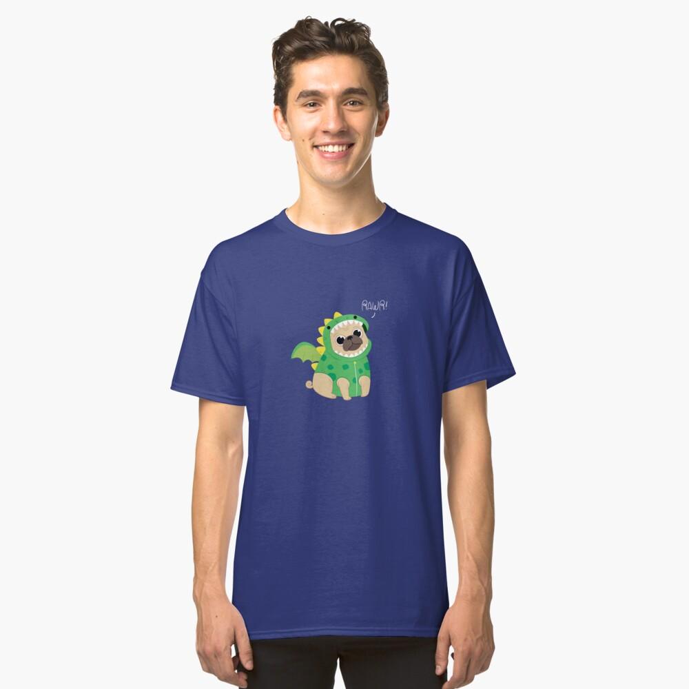 Cute dinosaur pug  Classic T-Shirt Front