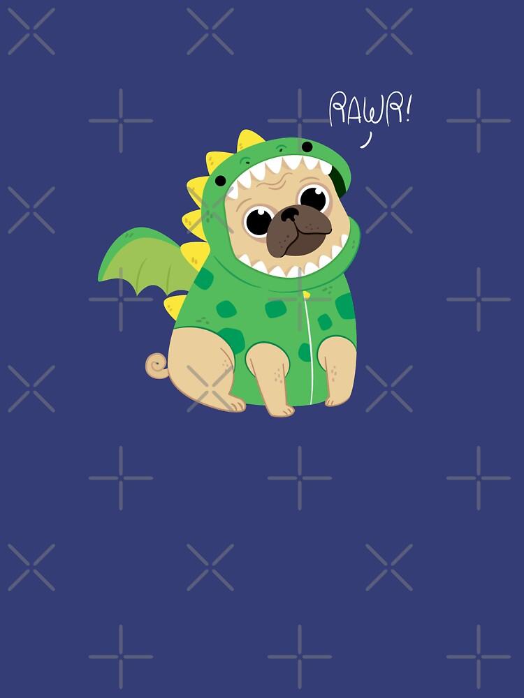 Cute dinosaur pug  by bainermarket