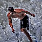 White water surfing--Ocean Beach CA by milton ginos