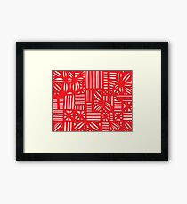 Mileti Abstract Expression Red White Framed Print
