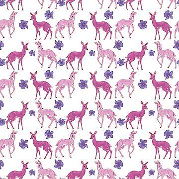 Pink Deer Pattern by georgiagoddard