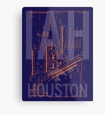 IAH Houston Airport Diagramm   Luftfahrt-Kunst-Geschenk für Flughafen-Stärkungsmittel, Vielflieger, Reise-Fanatiker Metallbild