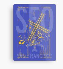 SFO San Francisco Flughafen Diagramm   Luftfahrt-Kunst-Geschenk für Flughafen-Stärkungsmittel, Vielflieger, Reise-Fanatiker Metallbild