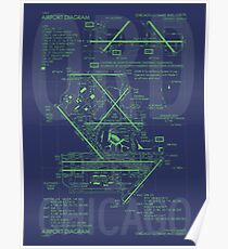ORD Chicago • Airport Diagram • Aviation Art Gift for Airport Buff, Frequent Flyer, Travel Fanatic Poster