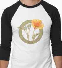California Poppy Men's Baseball ¾ T-Shirt