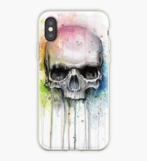 Watercolor Skull Rainbow Colorful Painting iPhone Case