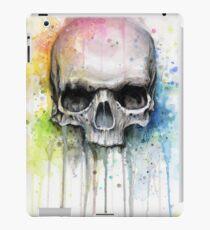 Vinilo o funda para iPad Acuarela cráneo arco iris colorida pintura