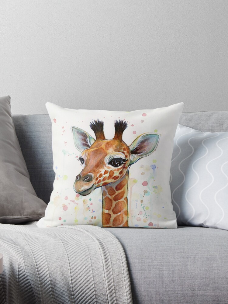 «Baby Giraffe Watercolor Painting, Nursery Art» de Olga Shvartsur