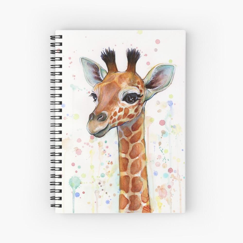 Baby Giraffe Watercolor Painting, Nursery Art Spiral Notebook