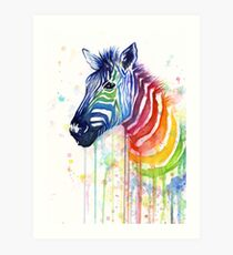 Rainbow Zebra Watercolor Animal Painting Art Print
