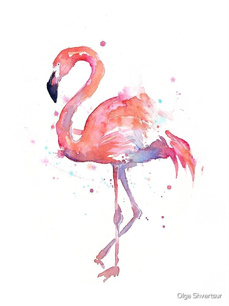 Pink Flamingo Watercolor Illustration by olga-shvartsur