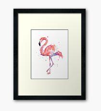 Pink Flamingo Watercolor Illustration Framed Print