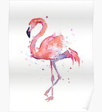 Pink Flamingo Watercolor Illustration Poster