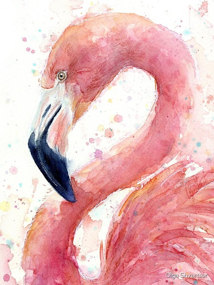 Flamingo Watercolor  by olga-shvartsur