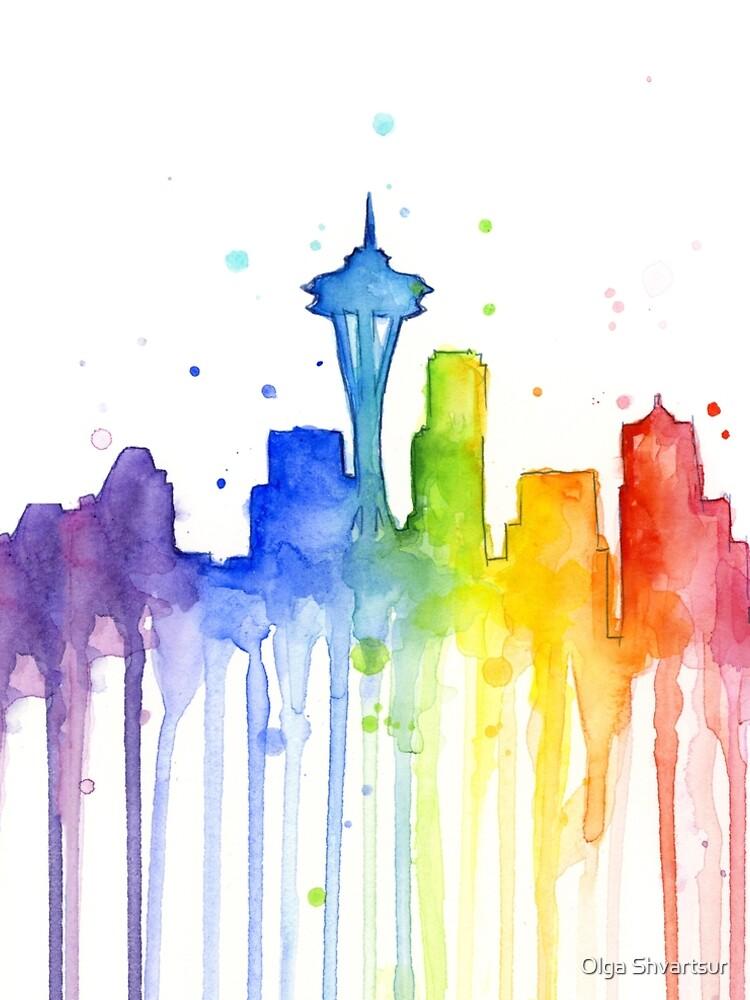 Silueta acuarela de Seattle del arco iris de olga-shvartsur