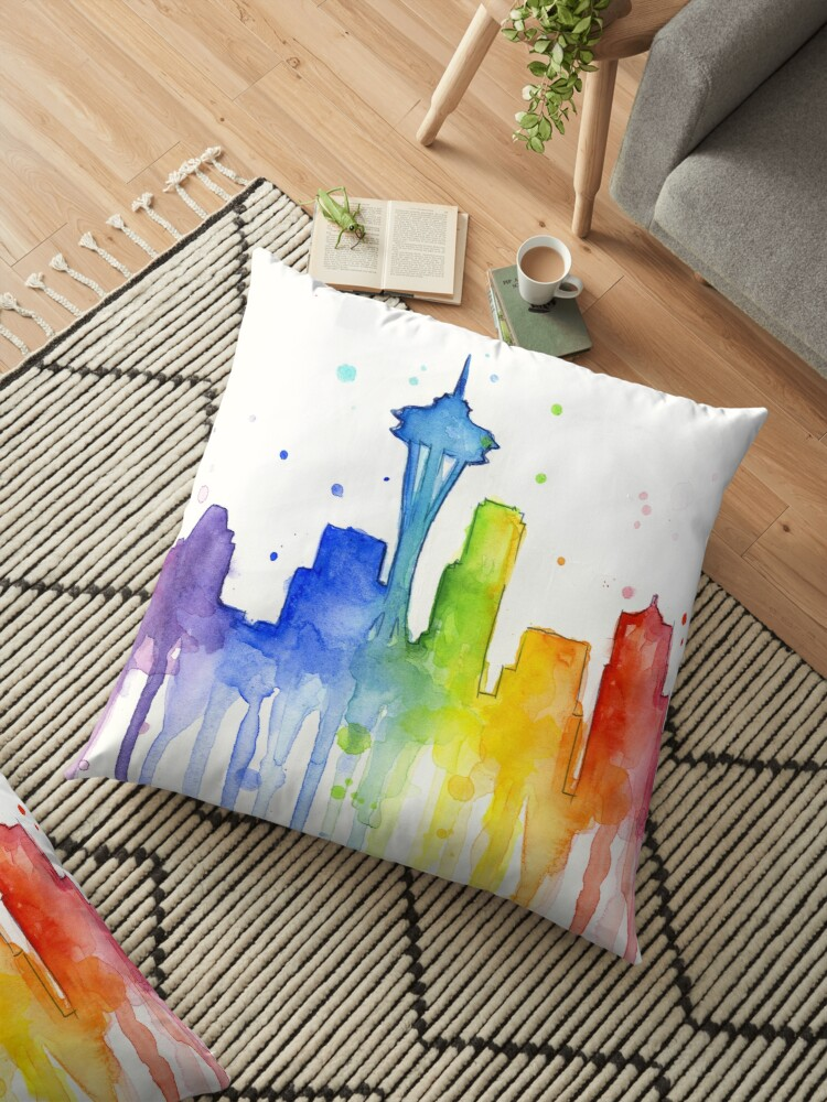 f524b3ad7c351 Seattle Rainbow Watercolor Silhouette