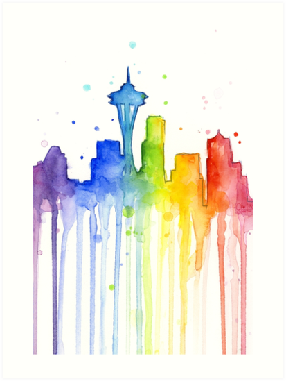 0cbcd36f354e1 Seattle Rainbow Watercolor Silhouette