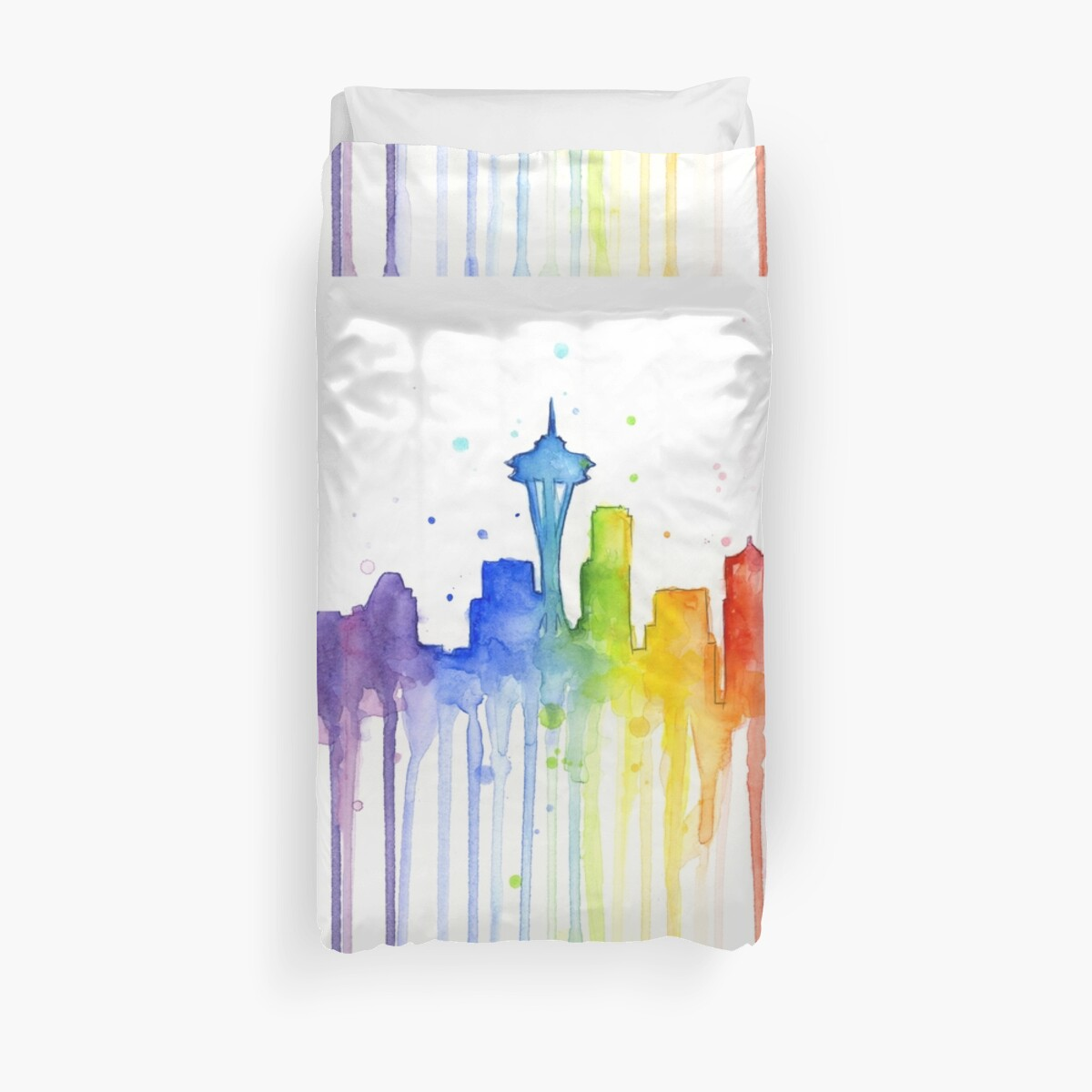 42ccd3c9defb2 Seattle Rainbow Watercolor Silhouette