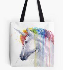 Rainbow Unicorn Watercolor Tote Bag