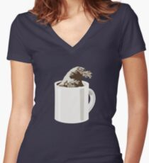 Cup O' Hokusai Women's Fitted V-Neck T-Shirt