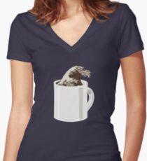 Cup O' Hokusai Fitted V-Neck T-Shirt