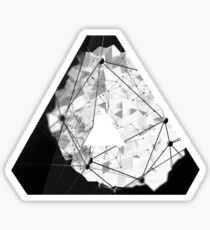 Abstract Geometry: Monochrome Crystal (Black/White/Grey) Sticker
