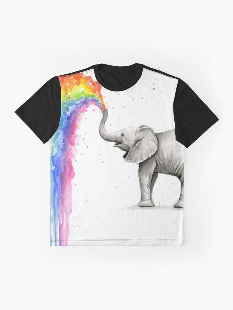 Alternative Ansicht von Baby-Elefant-Sprühregenbogen Grafik T-Shirt