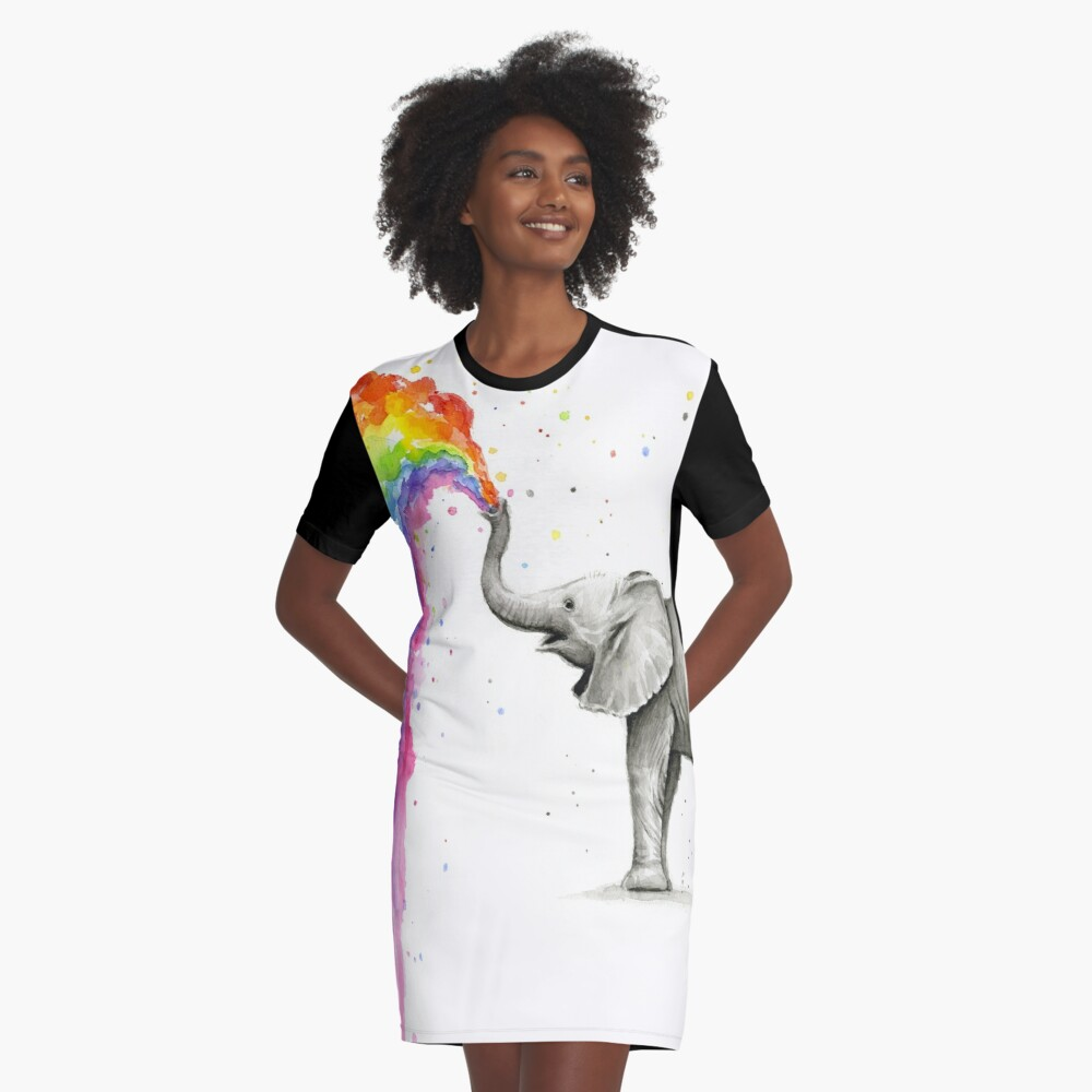 Baby-Elefant-Sprühregenbogen T-Shirt Kleid