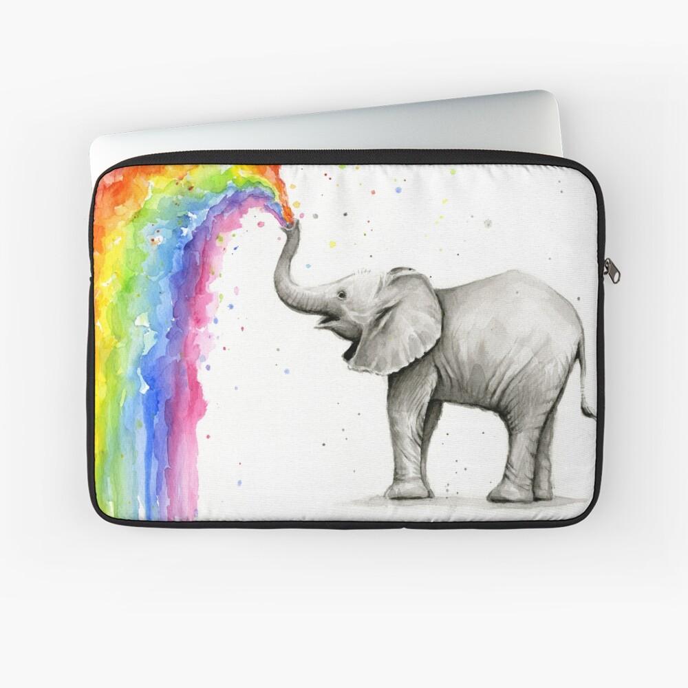 Baby-Elefant-Sprühregenbogen Laptoptasche