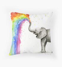 Baby-Elefant-Sprühregenbogen Dekokissen