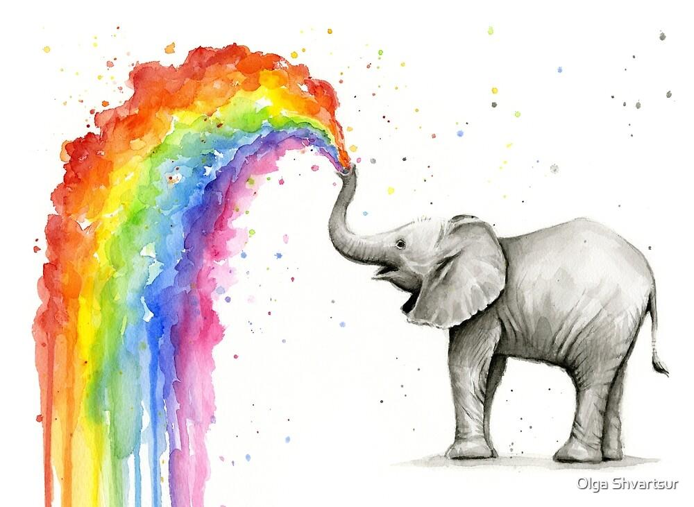 Baby Elephant Spraying Rainbow by Olga Shvartsur
