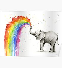 Baby Elephant Spraying Rainbow Poster