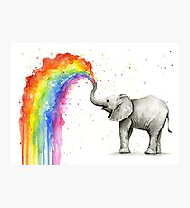 Baby Elephant Spraying Rainbow Photographic Print