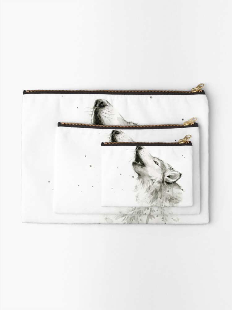 Alternate view of Wolf Howling Watercolor Zipper Pouch