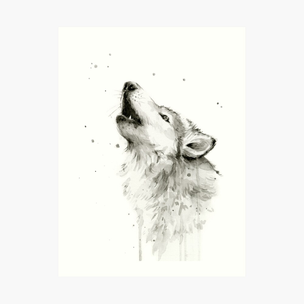 Wolf Howling Watercolor Art Print