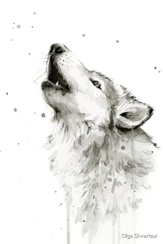 Wolf Howling Watercolor by Olga Shvartsur