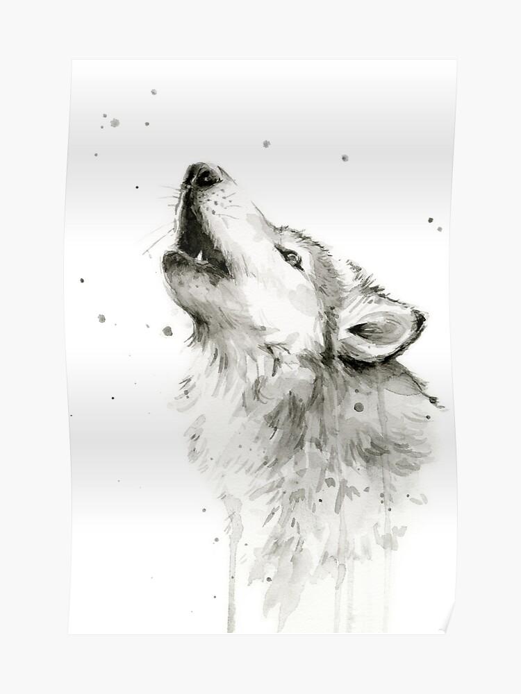 heulender wolf zeichnen einfach