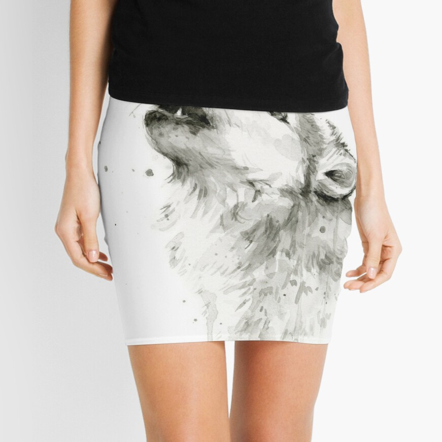 Wolf Howling Watercolor Mini Skirt