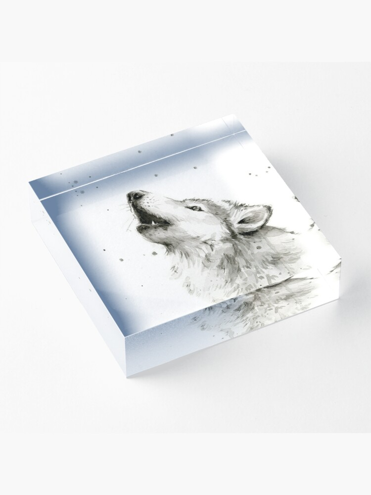 Alternate view of Wolf Howling Watercolor Acrylic Block