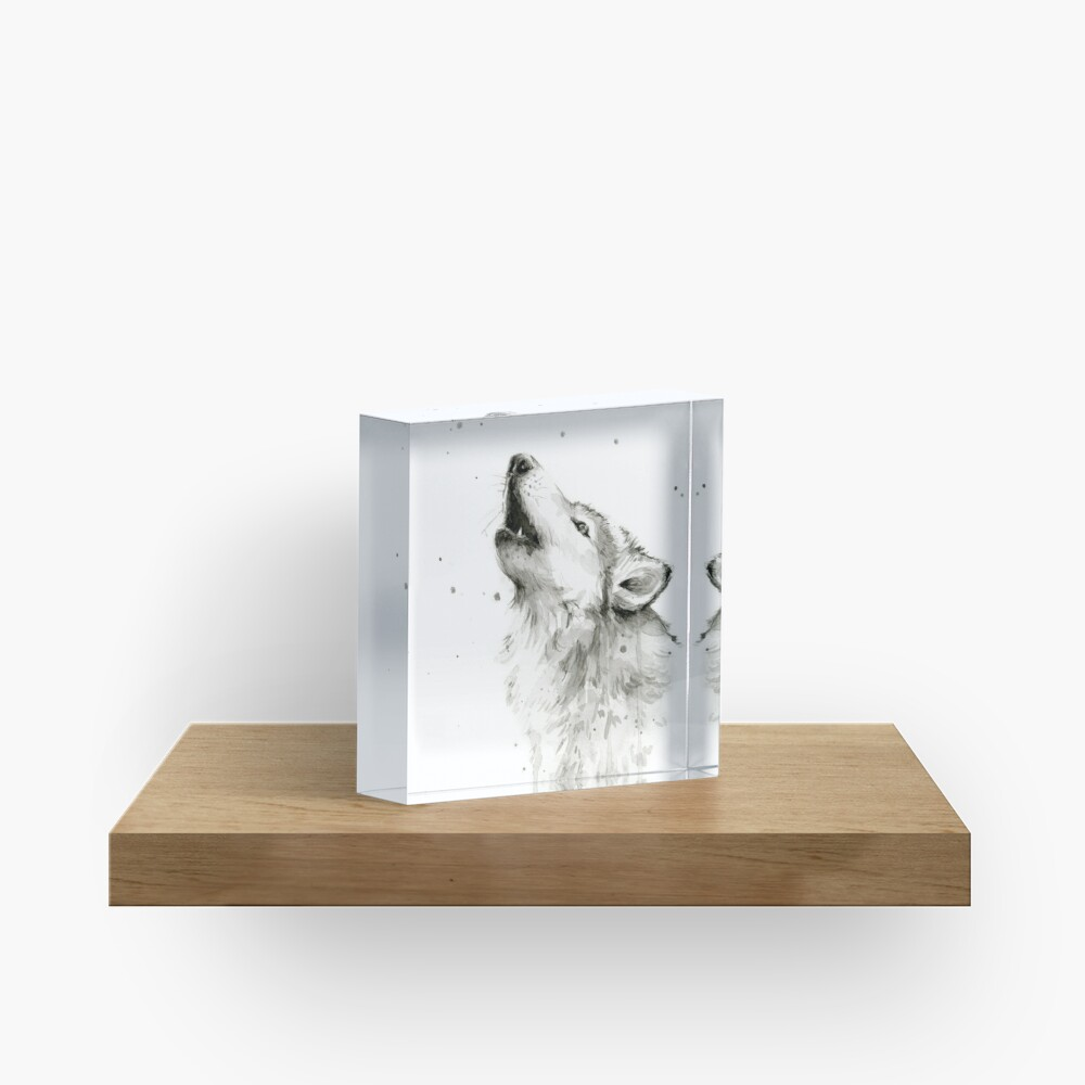 Wolf Howling Watercolor Acrylic Block