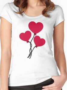 Red heart balloons Women's Fitted Scoop T-Shirt