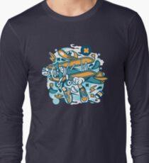 Airplane Cartoon Character Long Sleeve T-Shirt
