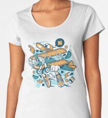 Airplane Cartoon Character Women's Premium T-Shirt